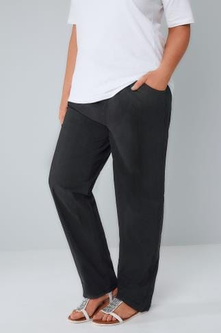 Cool Cotton Black Cool Cotton Pull On Wide Leg Trousers With Pockets 142032