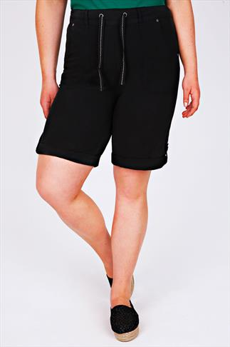 Black Cool Cotton Roll Up Shorts With Tab & Button Detail