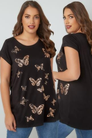 T-Shirts Black & Copper Foil Butterfly Print T-Shirt With Curved Hem 132430