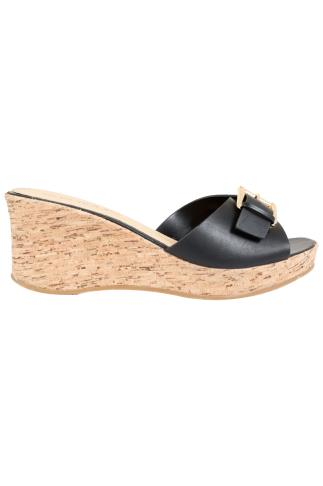 Wide Fit Wedges Black Cork Wedge Mule In EEE Fit 056421
