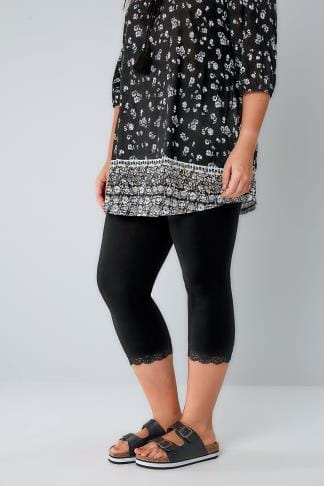 Cropped & Short Leggings Black Cotton Elastane Crop Legging With Lace Trim 057188