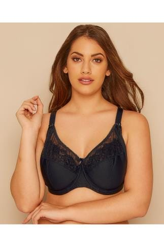 Wired Bras Black Cotton Rich Underwired Bra With Lace Trim 014416