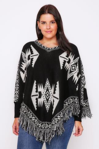 Black & Cream Aztec Poncho With Sleeves & Fringed Hem