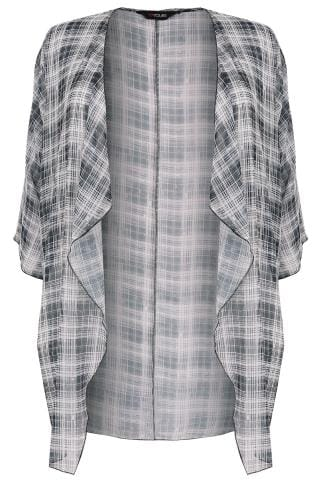 Black & Cream Grid Line Print Chiffon Kimono With Waterfall Front