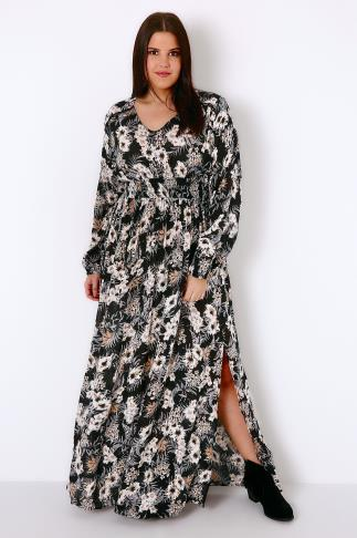 Black, Cream & Multi Floral Print Maxi Dress With Ruched Elasticated Waist