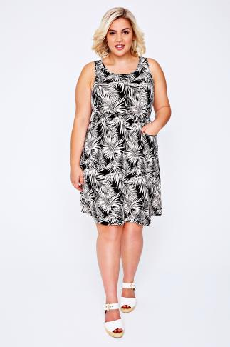 Black & Cream Palm Print Sleeveless Dress With Pockets