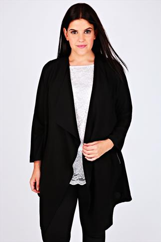 Blazers Black Crepe Longline Waterfall Jacket 053577