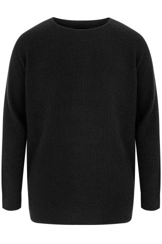 BadRhino Black Crew Neck Rib Chunky Knit Jumper