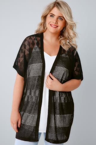 Cardigans Black Crochet Knit Cardigan With Short Sleeves 124031