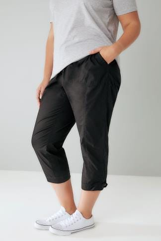 Decontractes coton Black Cropped Cotton Trousers With Ribbed Waistband 170310