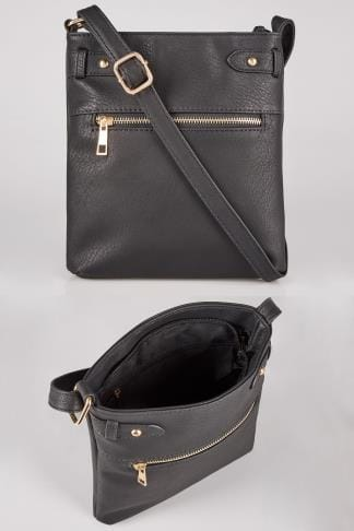 Black Cross Body Bag With Zip Front & Extended Strap