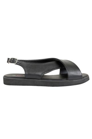 Black Cross Over Flat Sling Back Sandals With Silver Buckle In EEE Fit 056460