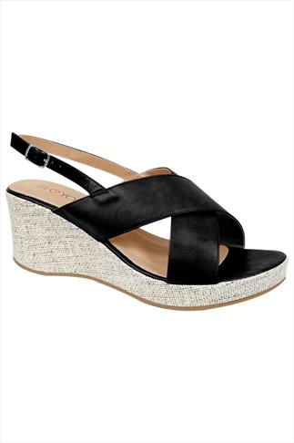 Black Cross Over Wedge Sandal In EEE Fit