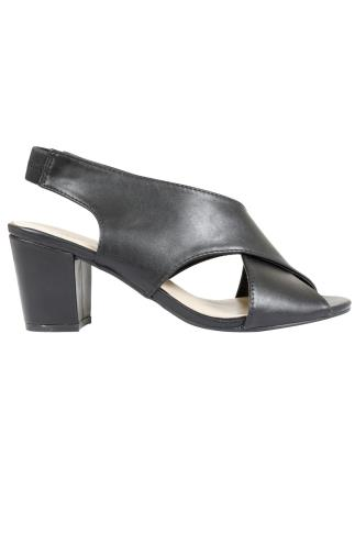 Black Crossover Block Heel Sandal In EEE Fit 056459