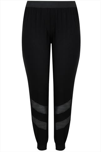 Black Cuffed Jersey Harem Trousers With Mesh Panels