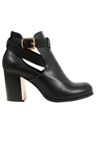 Wide Fit Ankle Boots Black Cut Out Heeled Ankle Boots With Buckle In E Fit 102455