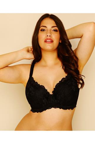 Black Daisy Floral Lace Underwired Moulded Cup Bra