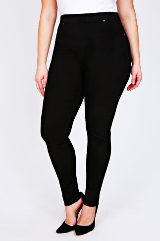 Black Denim Jeggings With Elasticated Waist