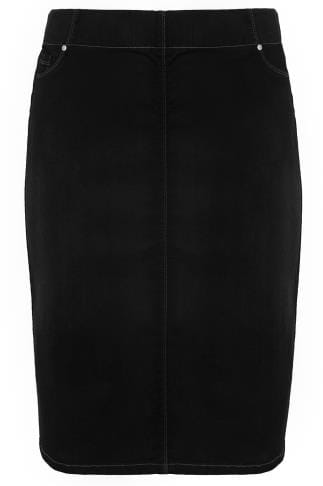 Droites Black Denim Pencil Skirt 160059