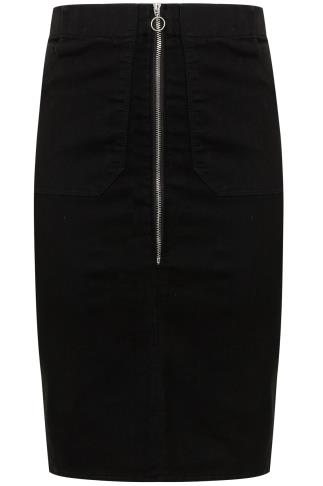 Black Denim Pencil Skirt With Zip Front Detail