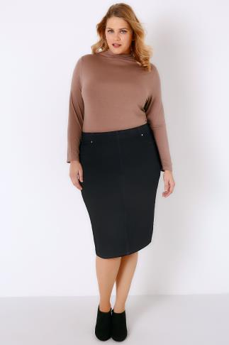 Black Denim Pull On Pencil Skirt 052953