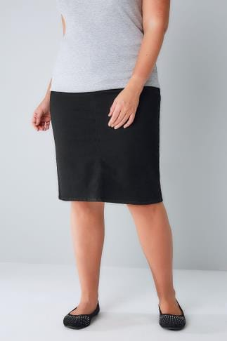 Denim Skirts Black Denim Pull On Pencil Skirt 052953