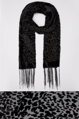 Scarves Black Devore Animal Print Scarf With Fringed Trims 152506