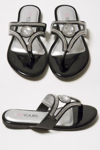 Wide Fit Sandals Black Diamante Embellished Toe Post Flat Sandals In True EEE Fit 154041