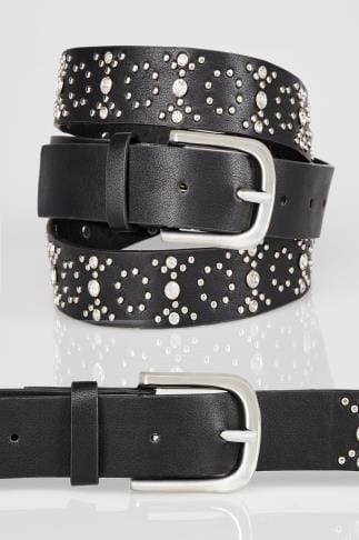 Black Diamante & Stud Embellished Belt