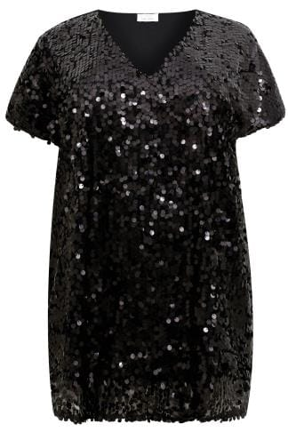 Party Tops YOURS LONDON Black Disc Sequin Cape Top 156247