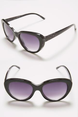 Sunglasses Black Distressed Cat Eye Sunglasses With UV Protection 152271