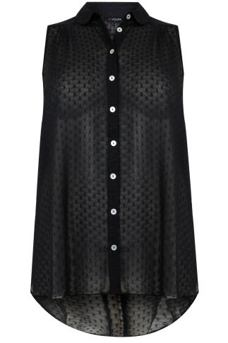 Black Dot Detail Sleeveless Chiffon Shirt