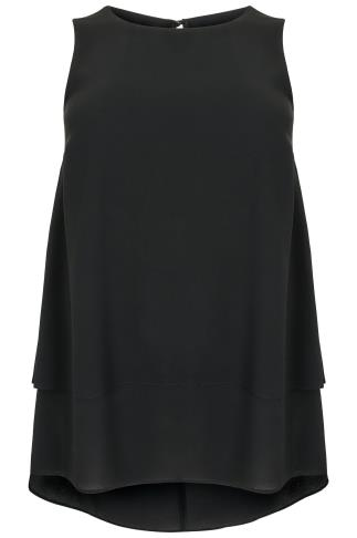 Black Double Layer Longline Top With Dip Hem 130080