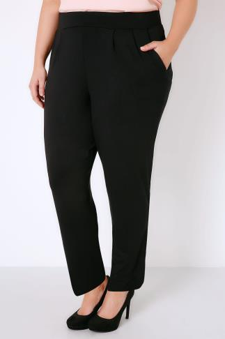 Harem Black Double Pleat Jersey Harem Trousers 103369
