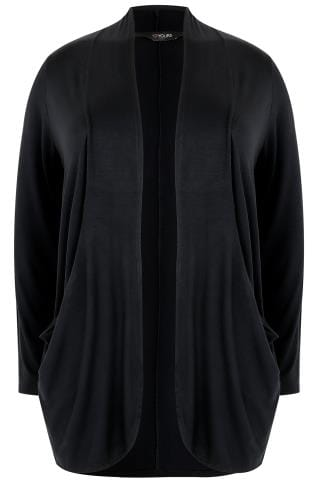 Black Drape Pocket Jersey Cardigan