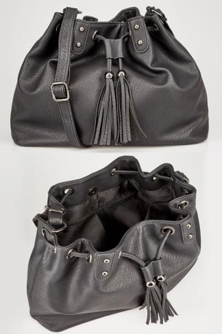 Across-The-Body Black Drawstring Across-The-Body Bag With Tassel Detail & Extended Strap 152462