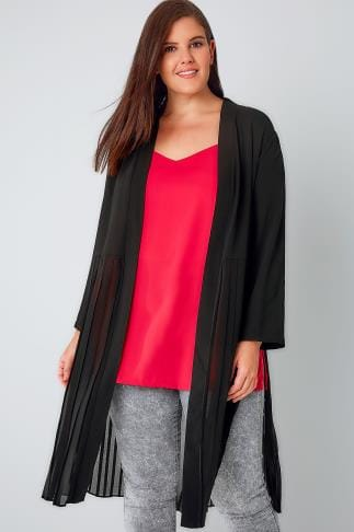Jackets Black Duster Jacket With Pleated Split Hem 134066