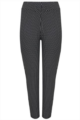 Black & Ecru Oval Print Jersey Trousers