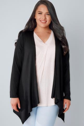 Cardigans Black Edge To Edge Waterfall Jersey Cardigan 134145