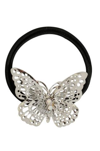 Hair Accessories Black Elasticated Hairband With Silver Butterfly Fixture 102850