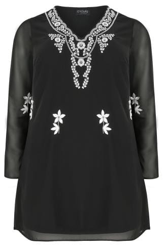 Black Embroidered & Beaded Top With Sheer Long Sleeves