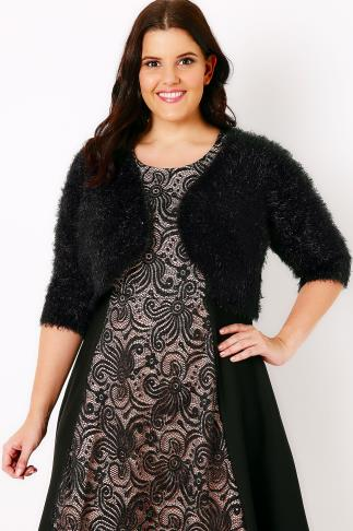Black Eyelash Sequin Shrug With Curved Hem 102130