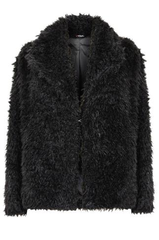 Black Faux Fur Crop Jacket With Collar Detail