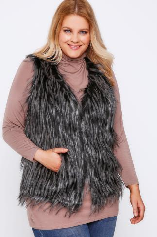 Black Faux Fur Gilet With Tipping Detail
