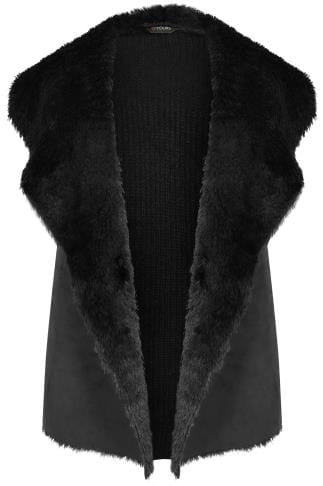 Westen Black Faux Fur Sleeveless Cable Knit Gilet 124097