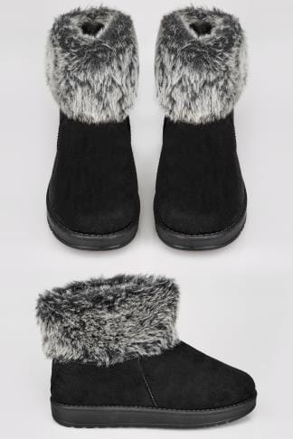 Wide Fit Boots Black Faux Fur Trim Ankle Boots In TRUE EEE FIT 154049