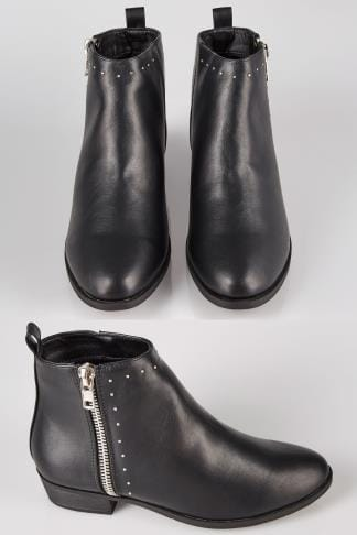 Black Ankle Boots With Stud Detail In E Fit