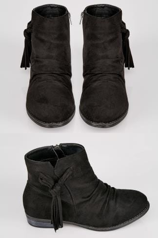 Wide Fit Ankle Boots Black Ankle Boots With Tassel Detail In TRUE EEE Fit 154079