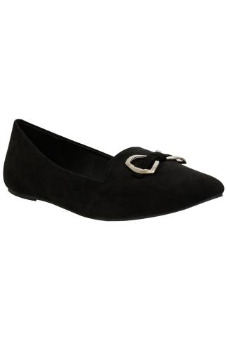 Black COMFORT INSOLE Faux Suede Ballerina Pump With Metal Bow Detail In E Fit