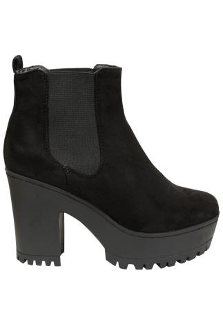 Black Faux Suede Chunky Cleated Sole Pull On Chelsea Boot In E Fit
